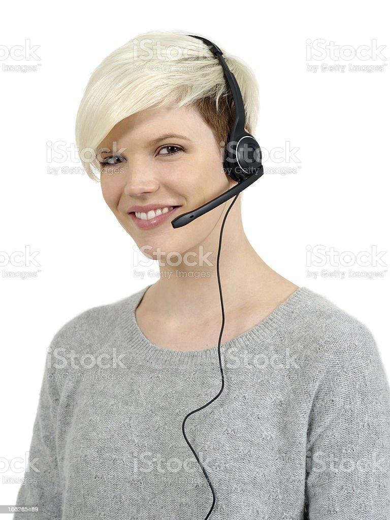 Beautiful call center woman royalty-free stock photo