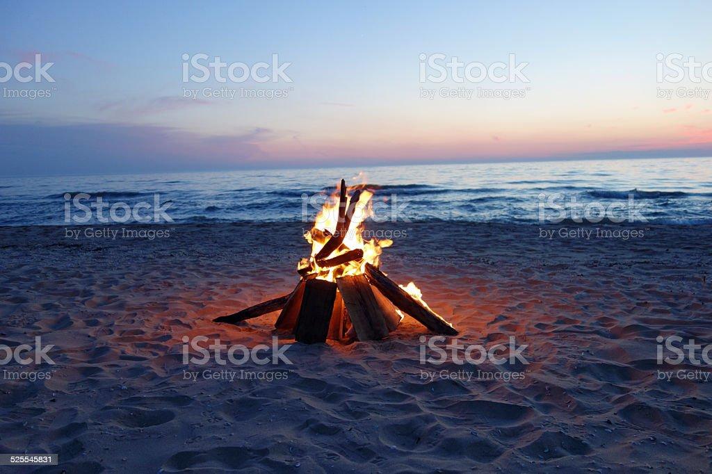 Beautiful campfire by the lake stock photo