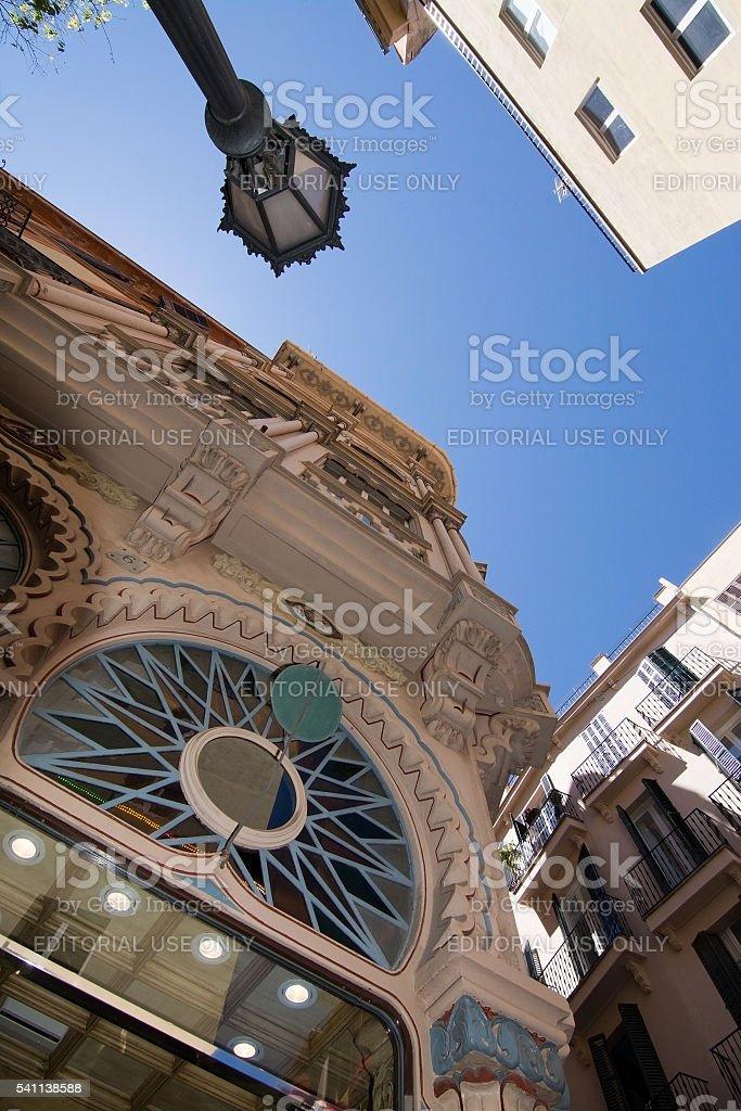 Beautiful Can Corbella art nouveau building stock photo