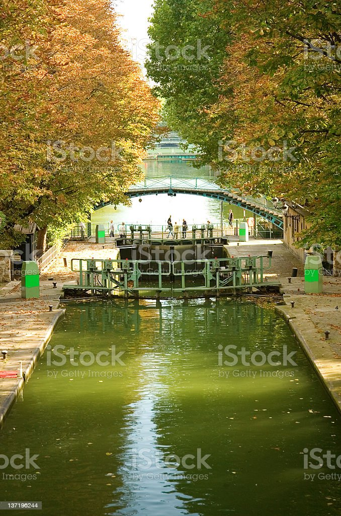 Beautiful canal Saint-Martin in Paris stock photo