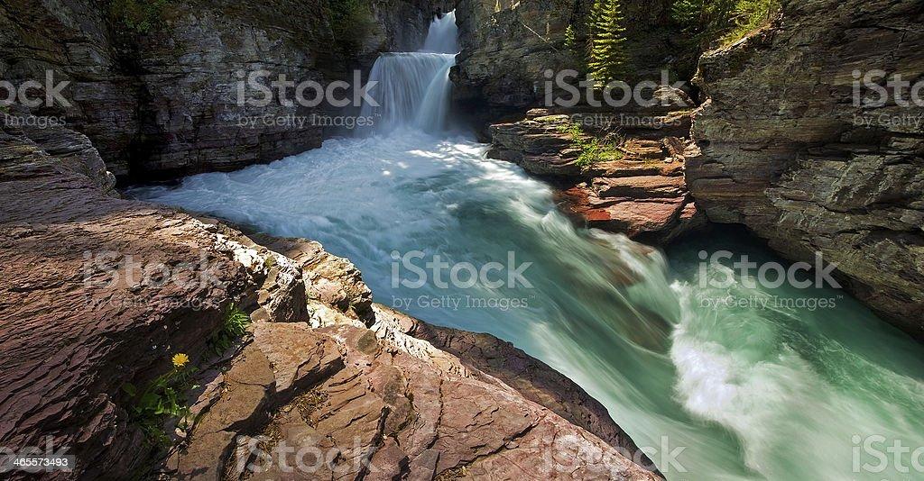 Beautiful canyon waterfall royalty-free stock photo