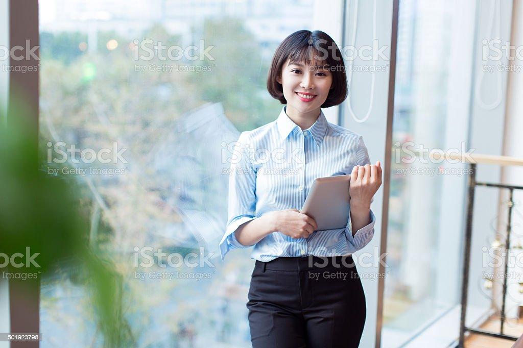 beautiful career women standing cafe stock photo