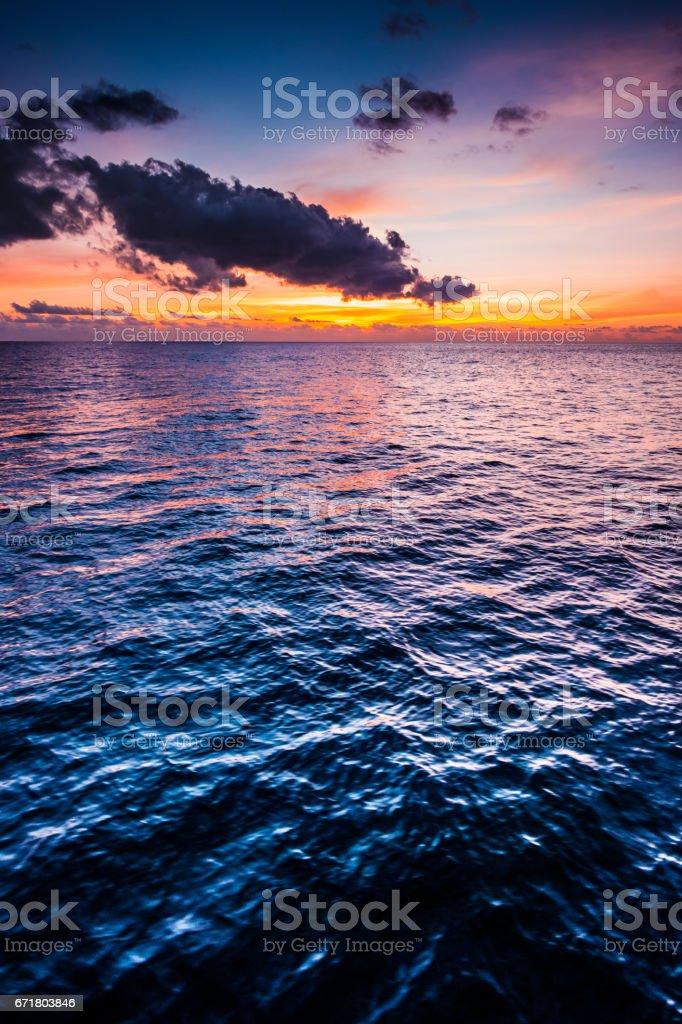 Beautiful caribic sunset stock photo