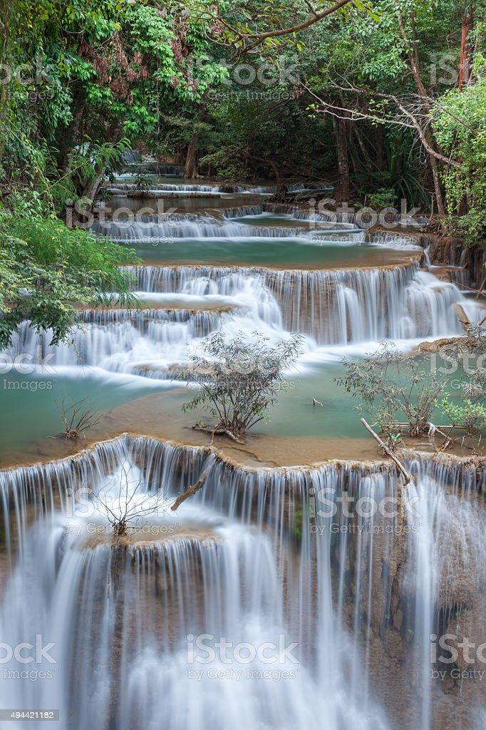 Beautiful cascade of Huay mae khamin waterfall stock photo