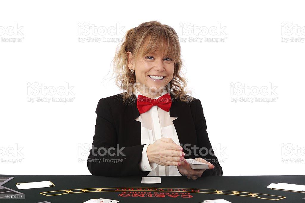 Beautiful casino dealer stock photo