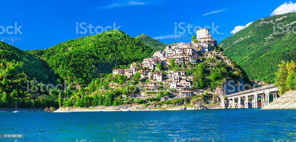 Beautiful Castel Di Tora,Lazio,Italy. stock photo