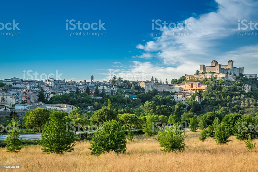 Beautiful castle in Spoleto, Italy, Umbria stock photo