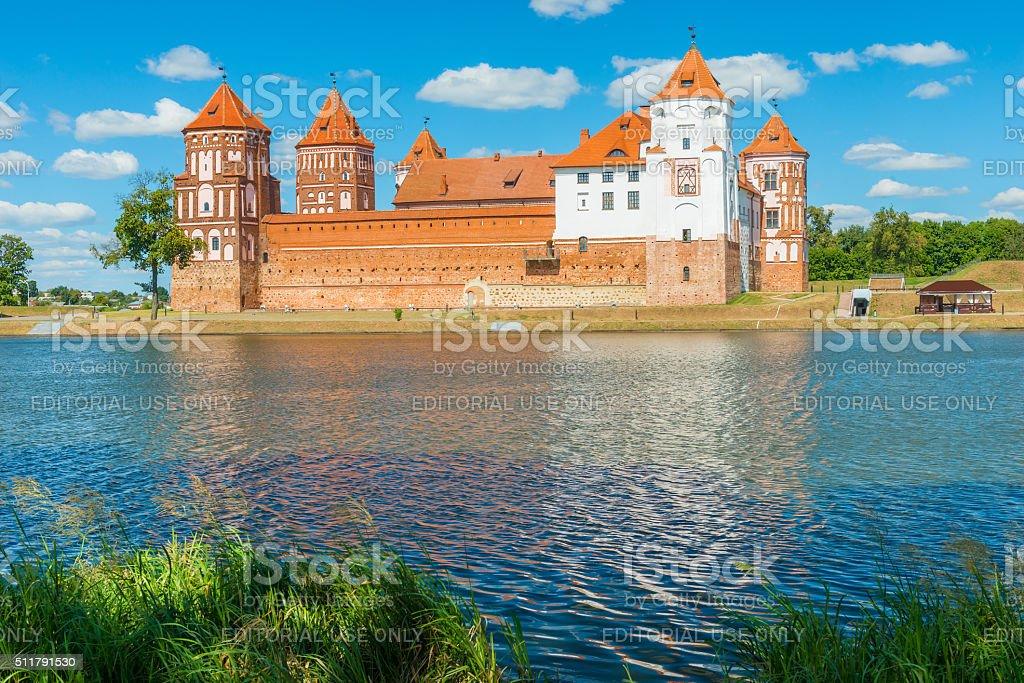 beautiful castle Mir and lake Mir, Belarus stock photo
