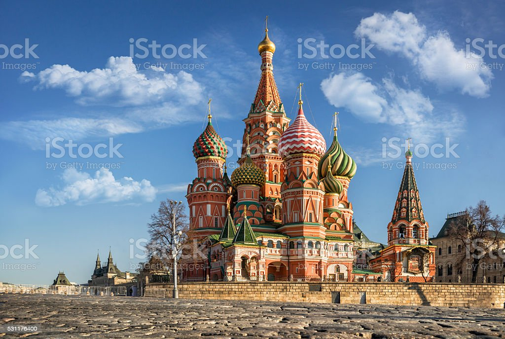 Beautiful Cathedral on the Red Square stock photo
