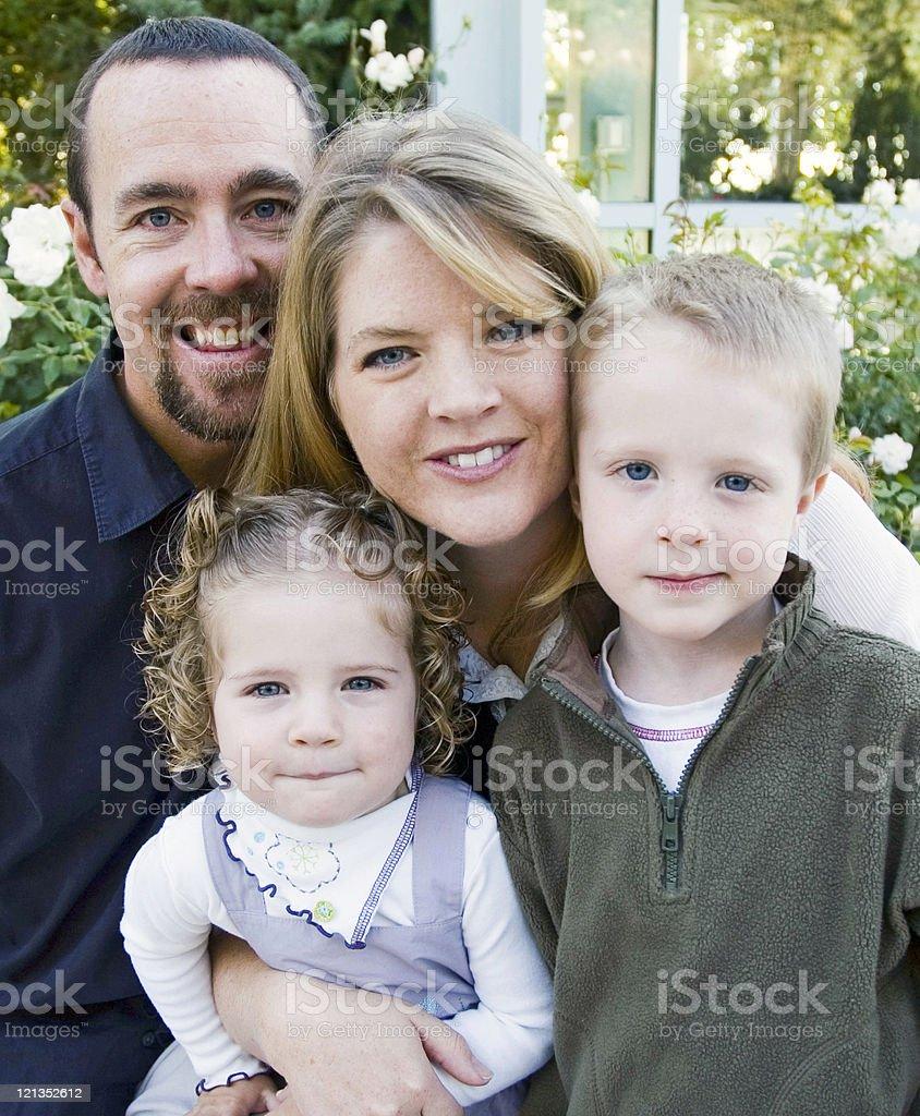 Beautiful Caucasian Family of Four stock photo
