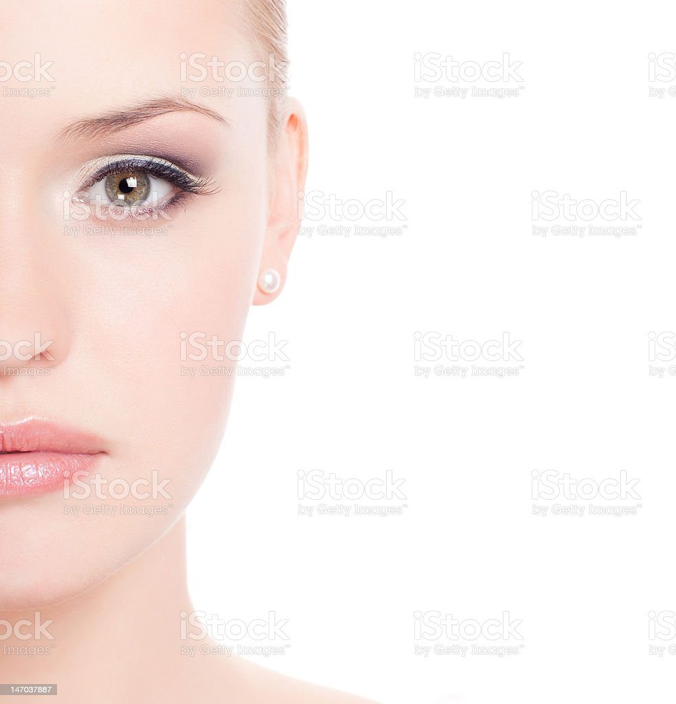 A beautiful Caucasian female in a white background stock photo