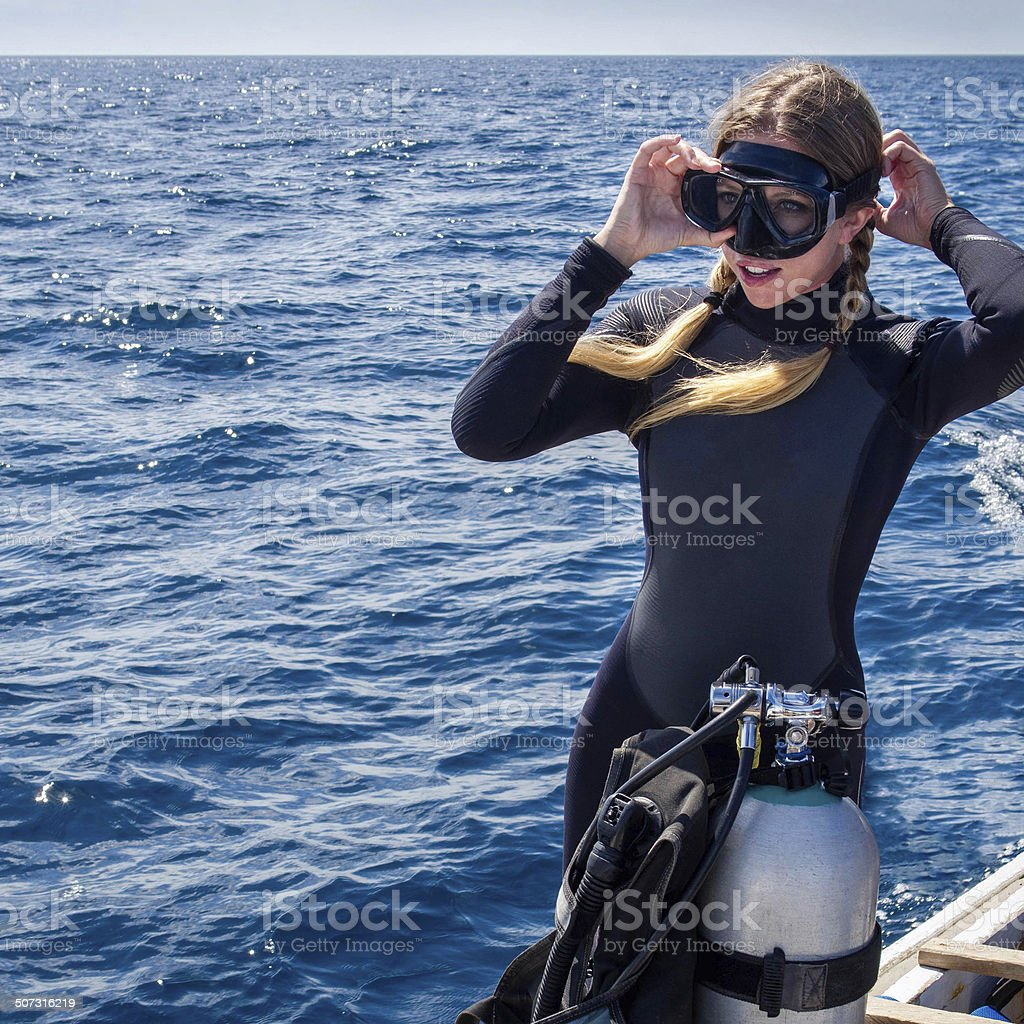 Beautiful, Caucasian Scuba Diver on Boat stock photo