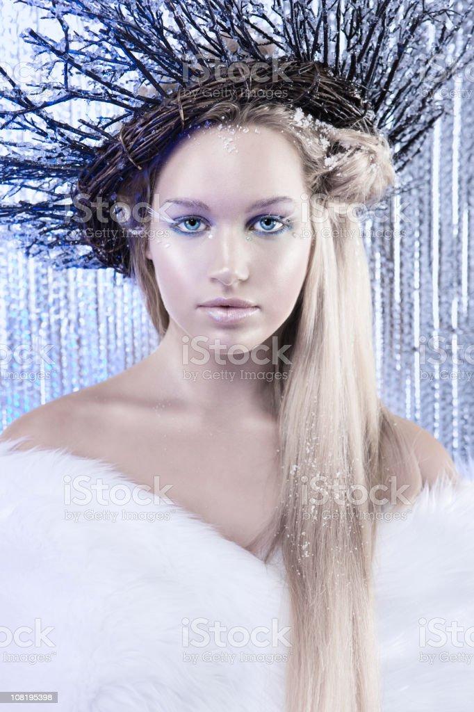 Beautiful Caucasian Winter Beauty Model as Ice Queen stock photo