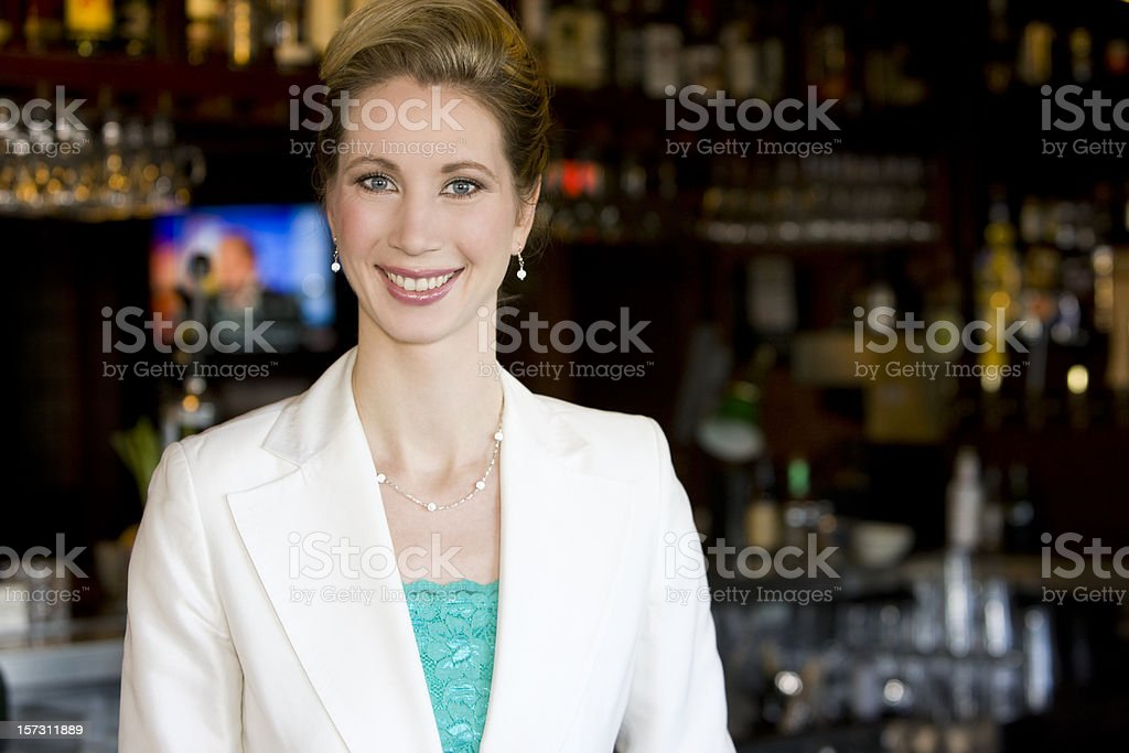 Beautiful Caucasian Woman as Small Business Owner in Restaurant Bar stock photo