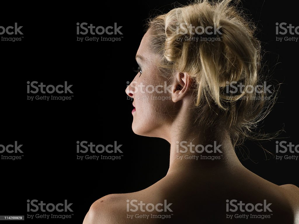 Beautiful caucasian woman from behind royalty-free stock photo