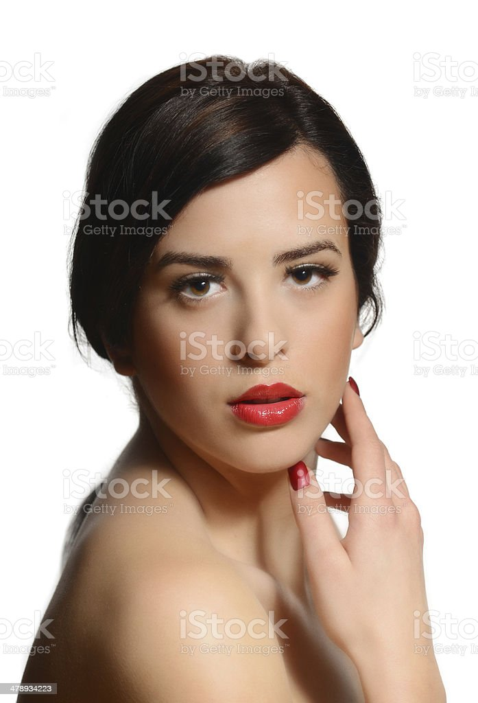 Beautiful caucasian woman on isolated background with red lipstick royalty-free stock photo
