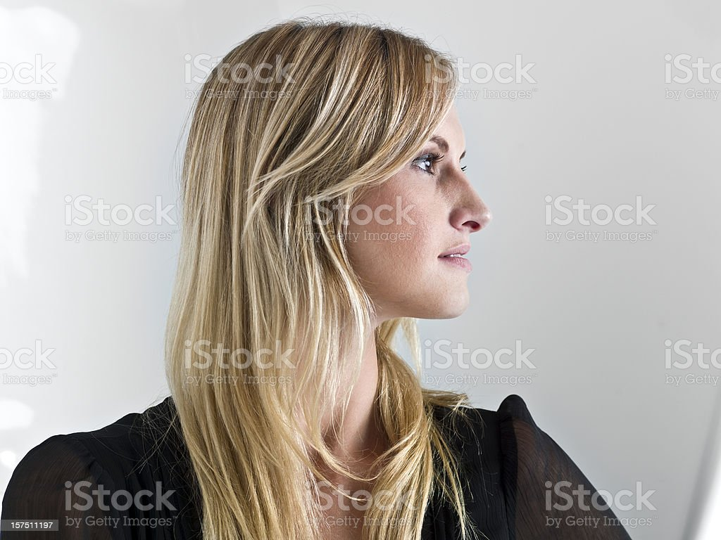 Beautiful caucasian woman profile stock photo