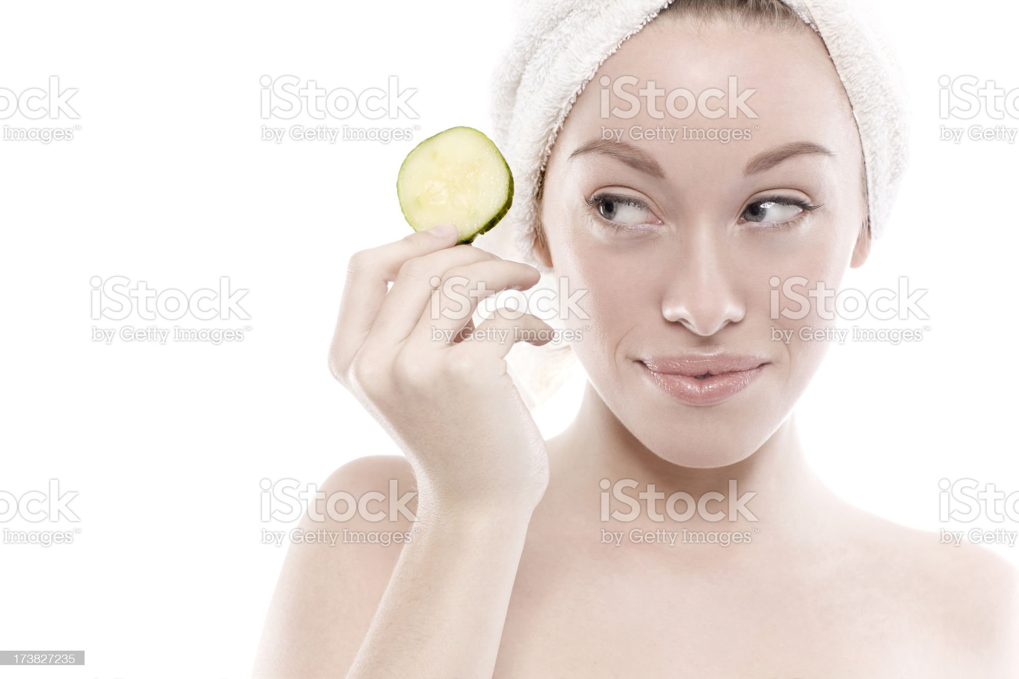 Beautiful Caucasian Young Woman Spa Shot, Cucumber Slice on White royalty-free stock photo