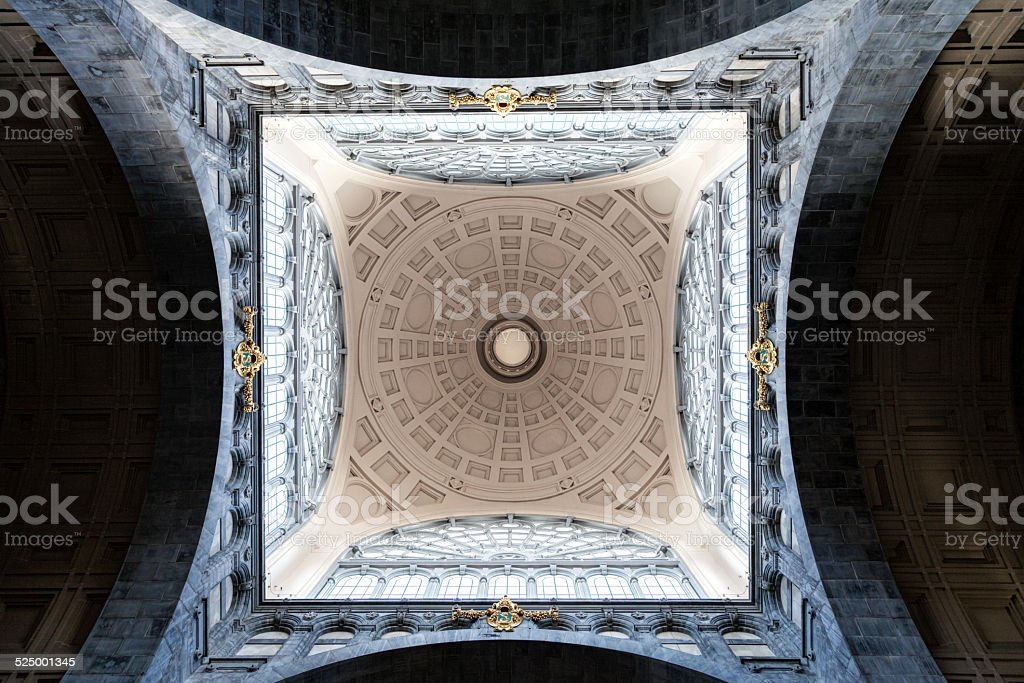 Beautiful ceiling in Antwerp central station in Belgium stock photo