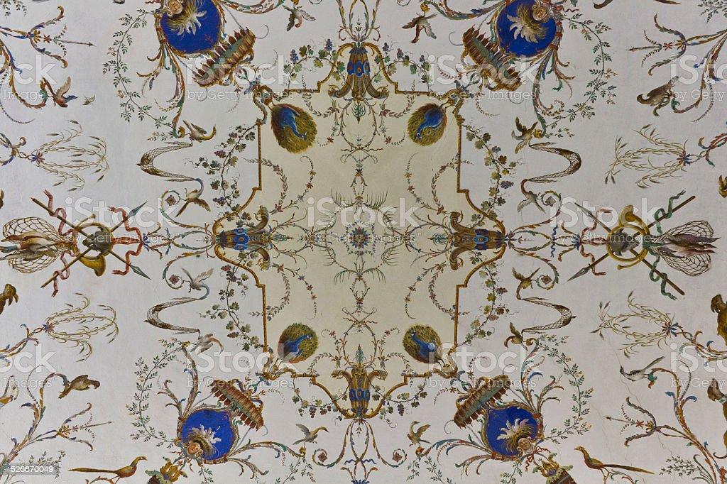 Beautiful ceiling inside the rooms of Reggia di Caserta stock photo