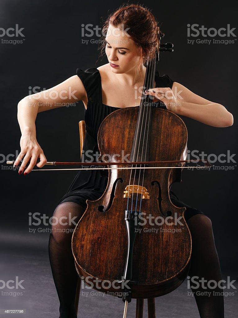 Beautiful cellist stock photo