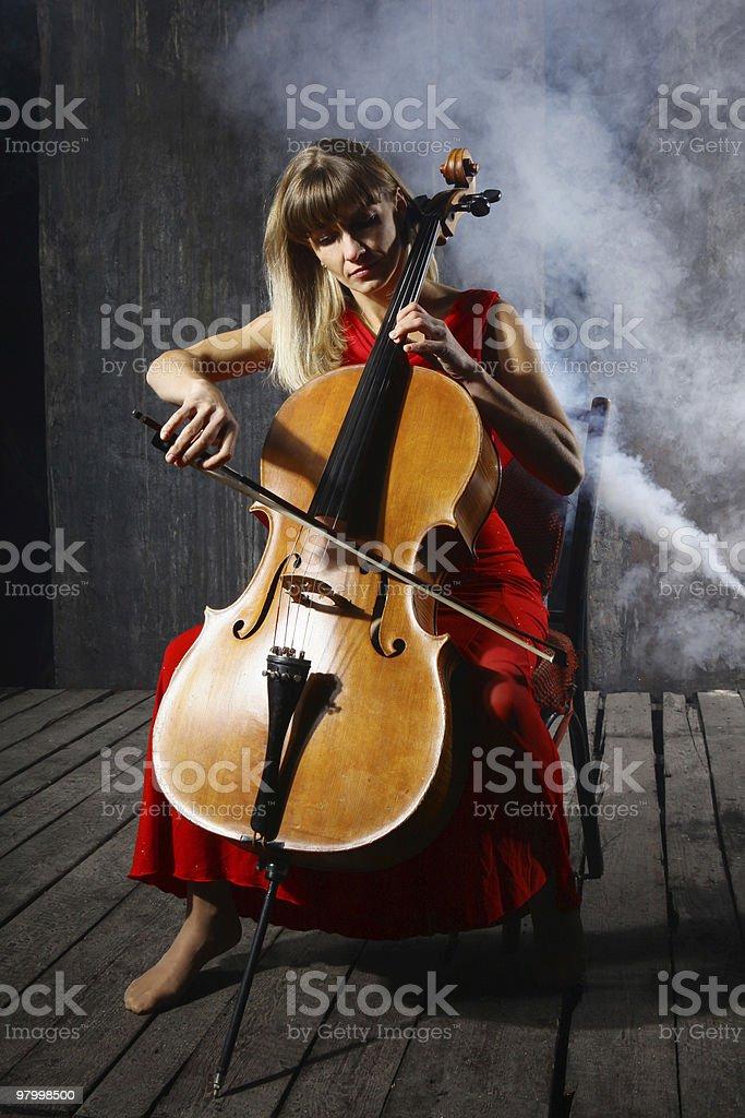 Beautiful cello musician stock photo