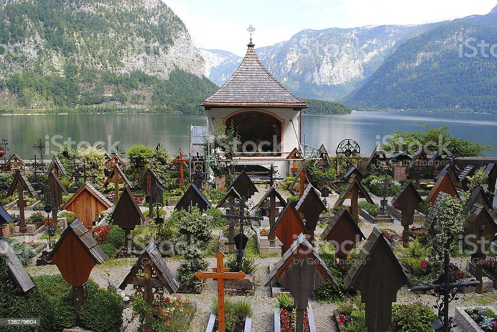Beautiful cemetery at a lake, Hallstatt Upper Austria stock photo