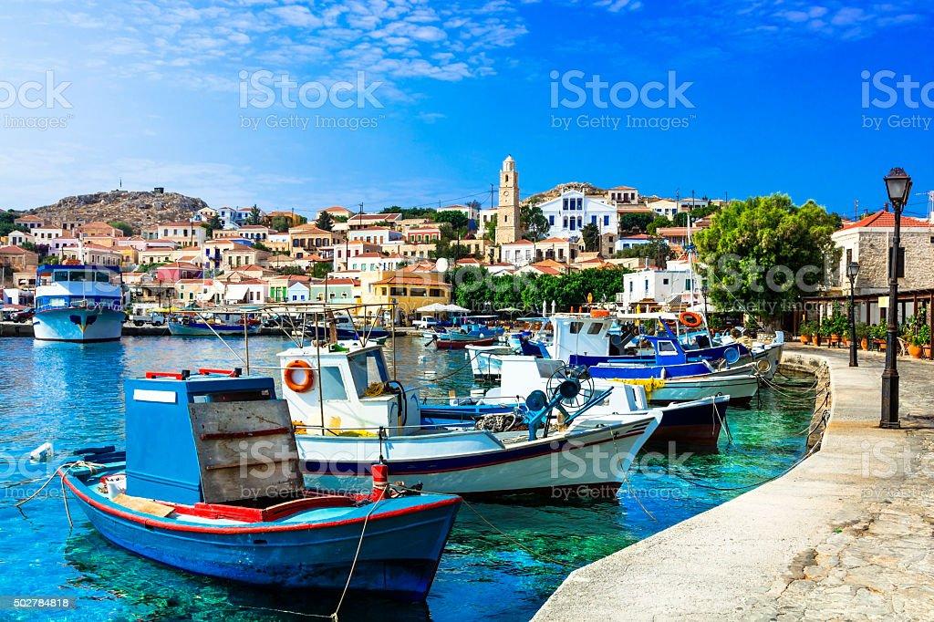 Beautiful Chalki,Greece. stock photo