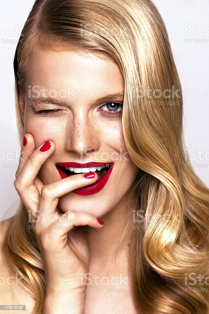 beautiful cheerful woman stock photo