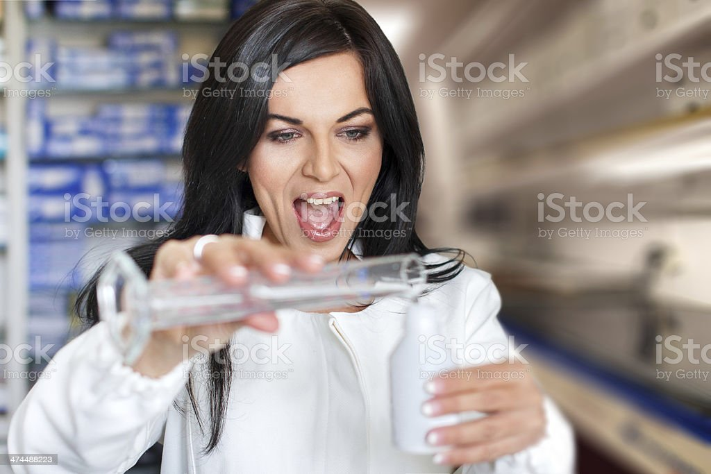 Beautiful chemical analyst successful experiment royalty-free stock photo