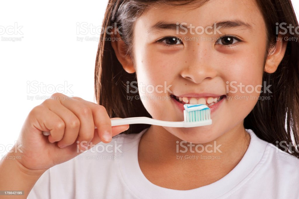 Beautiful Child Brushing Teeth stock photo