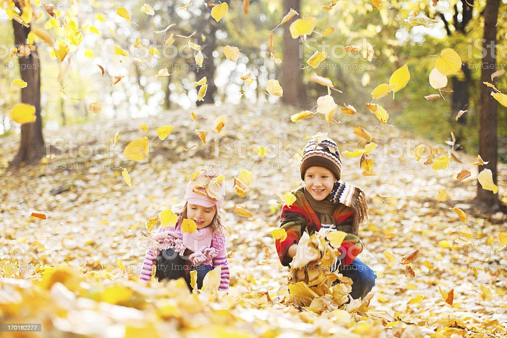 Beautiful children playing in the heap of leaves. royalty-free stock photo