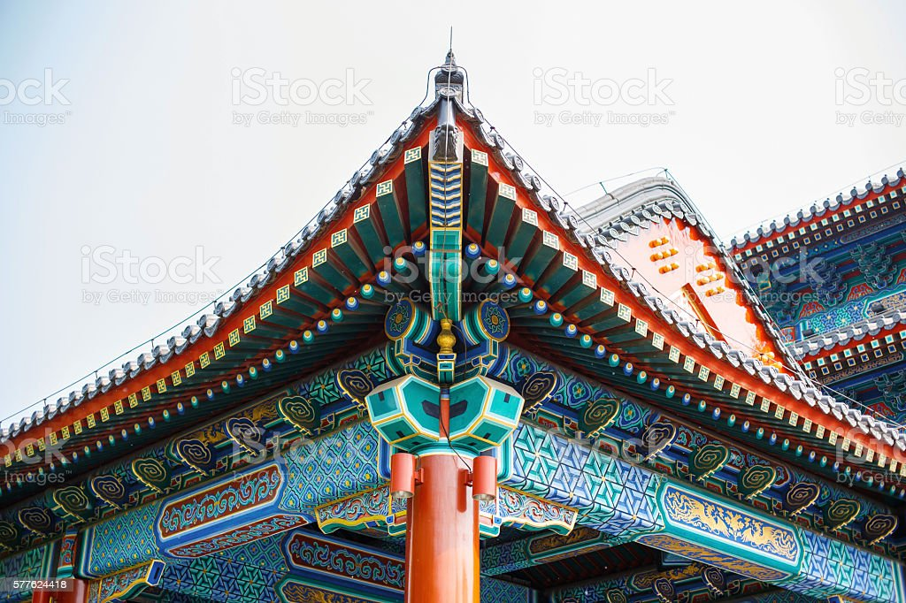 Beautiful Chinese colored roof with ornaments. stock photo