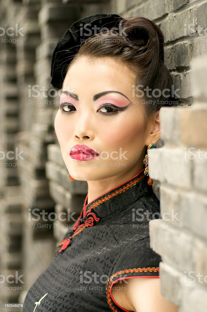 Beautiful Chinese Model in Qipao royalty-free stock photo