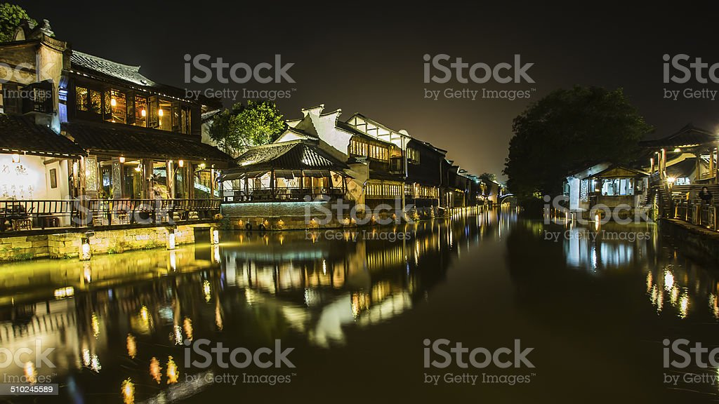 Beautiful Chinese water town at nigh stock photo