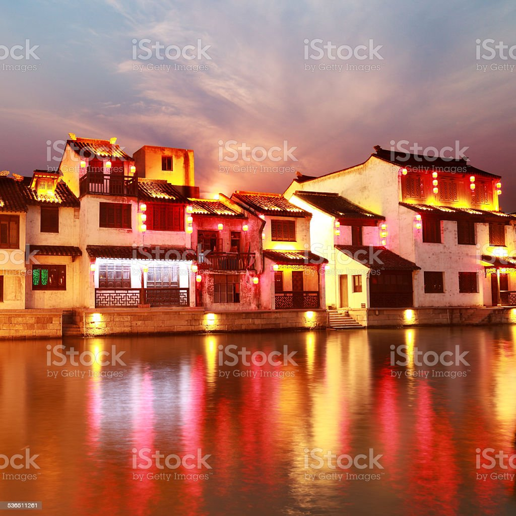 Beautiful Chinese water town at night stock photo