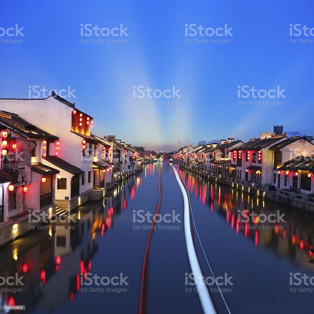 Beautiful Chinese water town in night stock photo