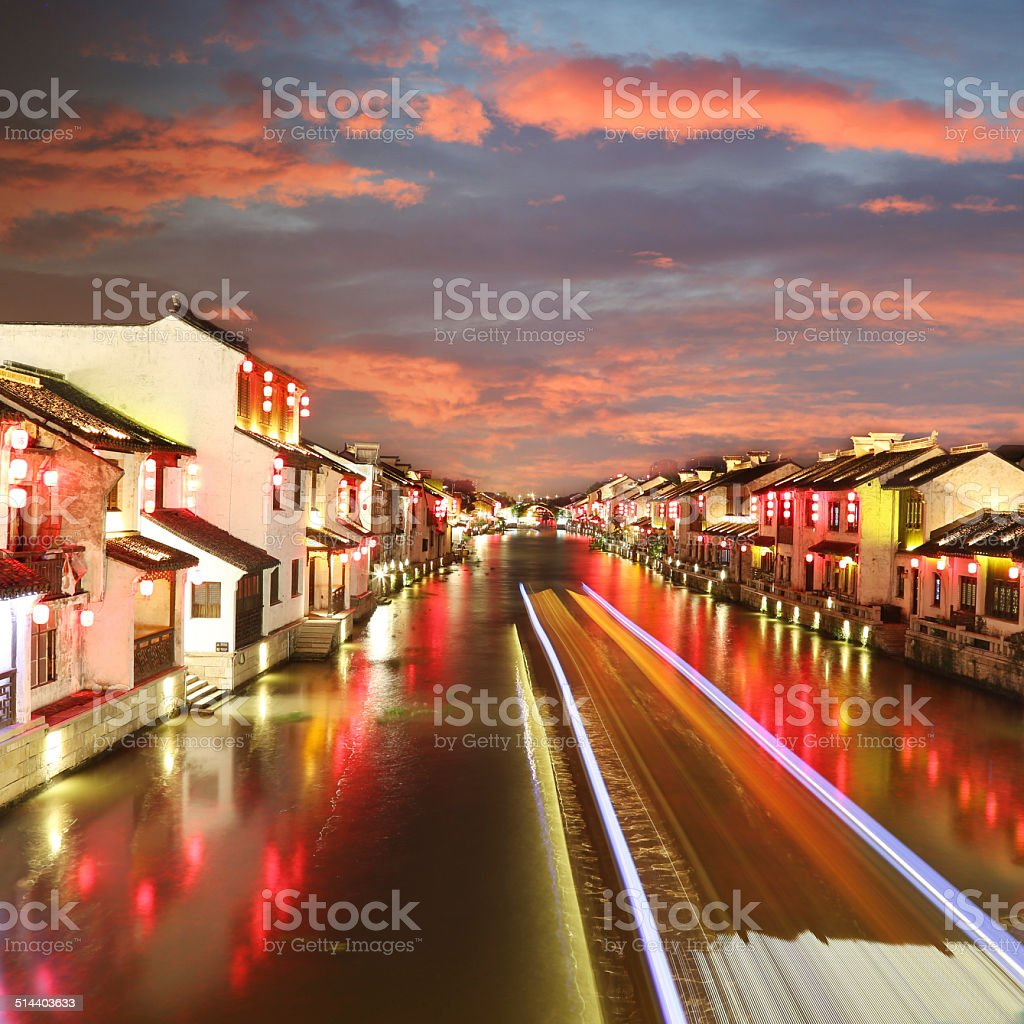 Beautiful Chinese water town in night stock photo
