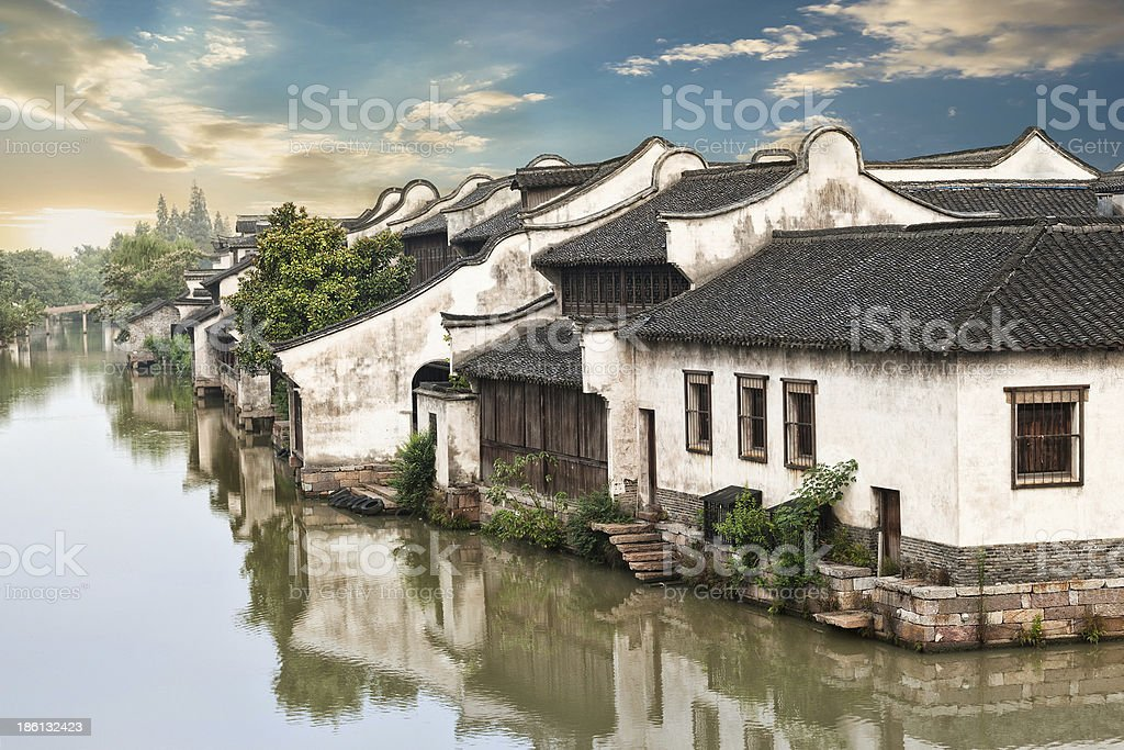 Beautiful Chinese water town in Suzhou area stock photo
