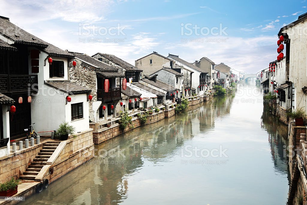 Beautiful Chinese water town stock photo