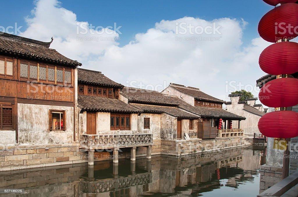 Beautiful Chinese water town stock photo