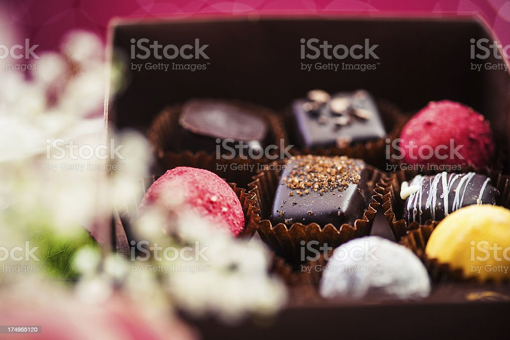 Beautiful chocolate and roses royalty-free stock photo