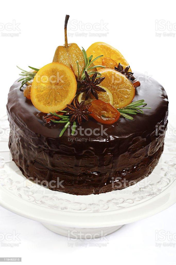beautiful chocolate cake with glazed fruit royalty-free stock photo
