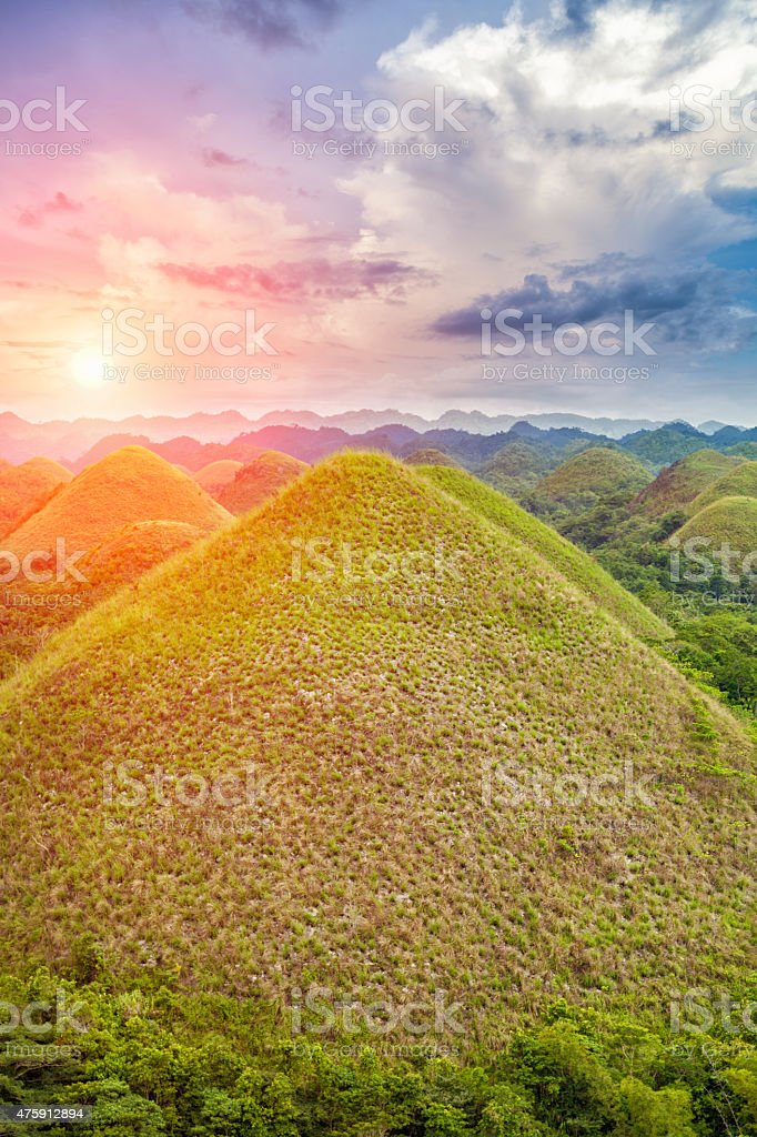 Beautiful Chocolate Hills in Bohol, Philippines stock photo