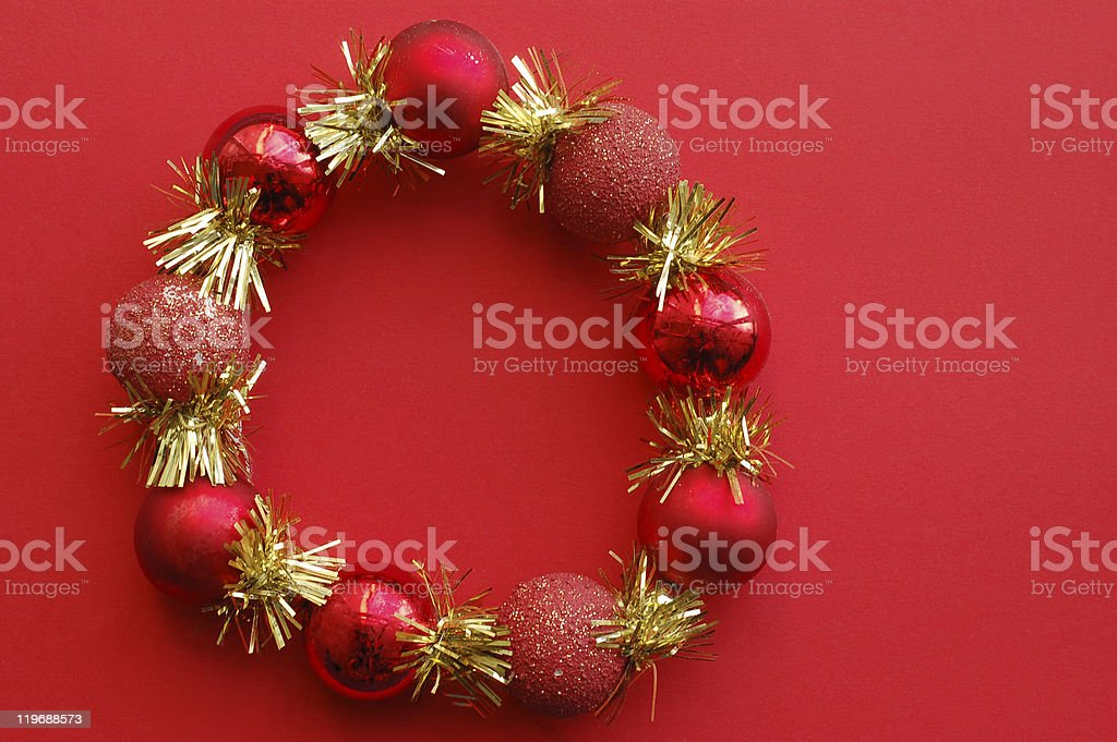 Beautiful christmas attribute on red background royalty-free stock photo