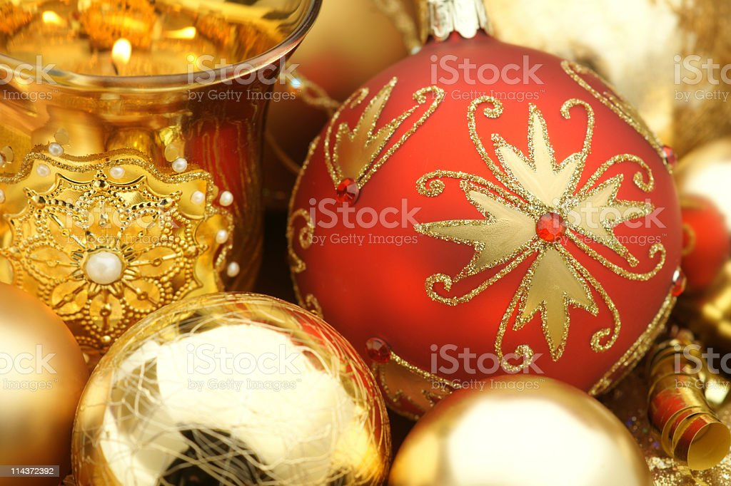 Beautiful christmas decoration in red and gold stock photo