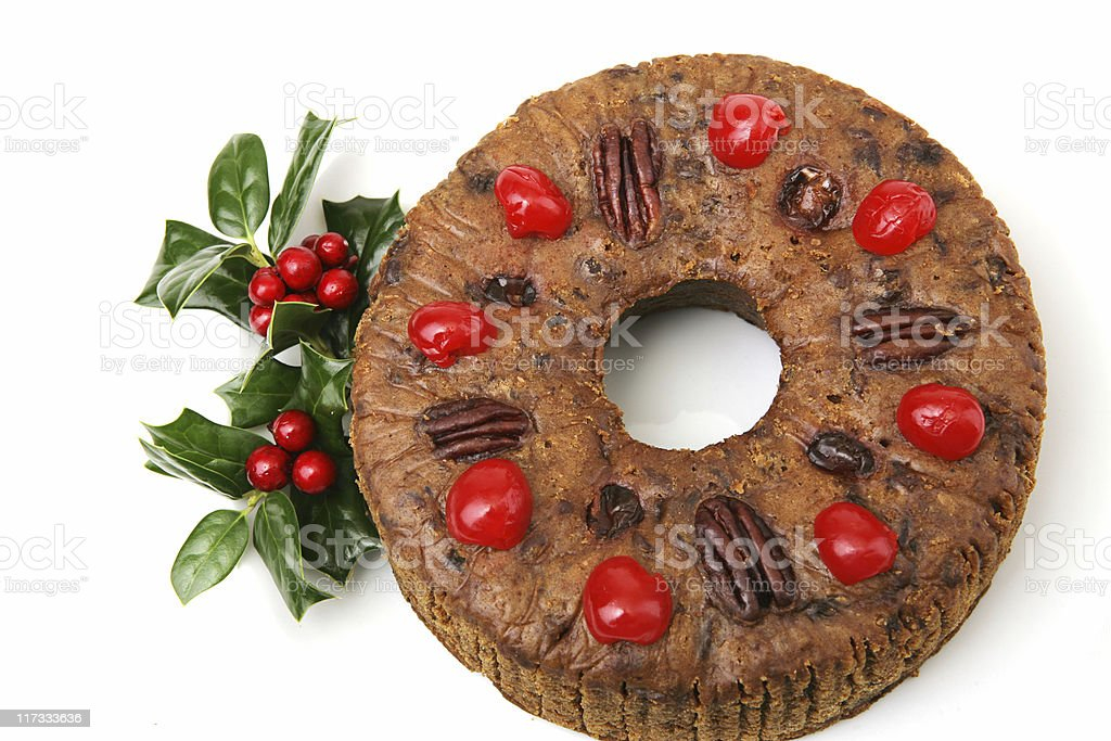 Beautiful Christmas Fruitcake stock photo