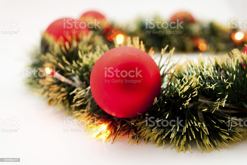 Beautiful Christmas toys with garland royalty-free stock photo