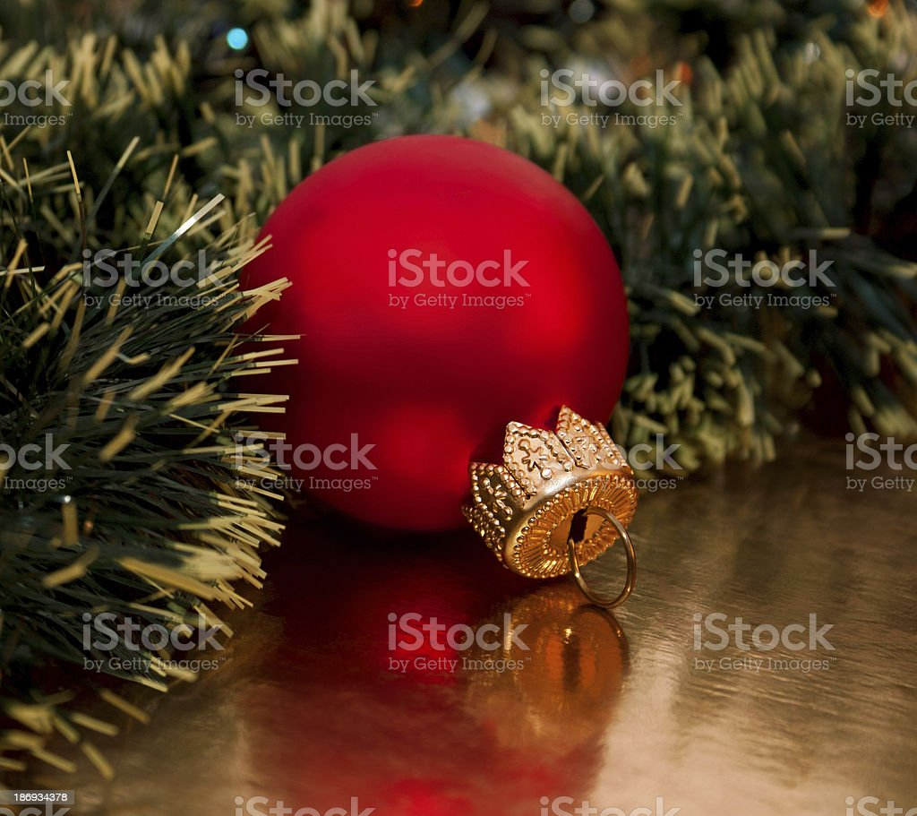 Beautiful Christmas's ball on the golden background royalty-free stock photo