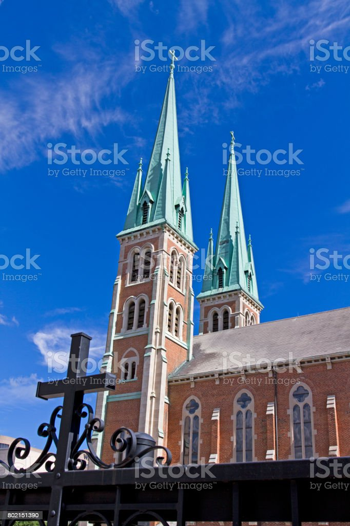 A beautiful church building with twin spires stock photo